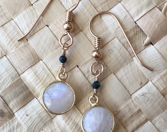 Moonstone, Mystic Black Spinel, and 14kt Gold Filled Earring