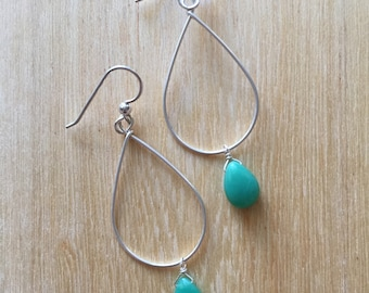 Chrysoprase and Sterling Silver Earring
