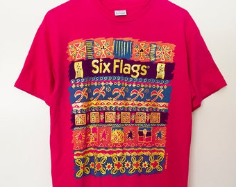 f3f59cad2264 Vintage 90s Six Flags Shirt Unisex Medium Large Amusement Park Tshirt  Souvenir Roller Coaster Theme Park Magic Mountain Vacation