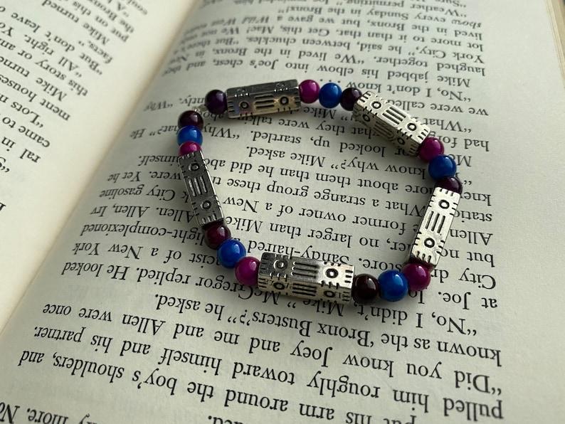 Purple Blue Silver Beaded Bracelet -JEWELRY SALE Pink