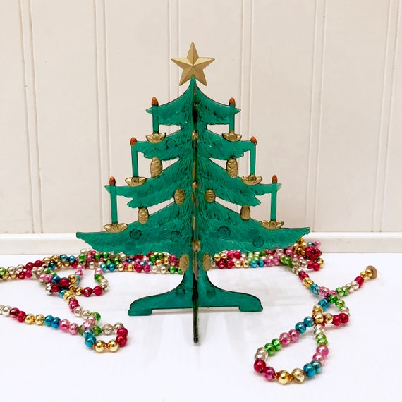 Collapsible Christmas Tree.Vintage Plastic Christmas Tree Green Collapsible Tree 2 Piece Tree Acorn Ornaments Candles 3 Dimensional Folds Flat Old Stock