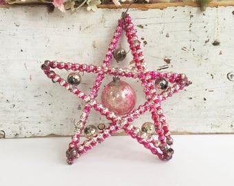 VINTAGE Christmas ORNAMENT - Pink Beaded Mercury Glass Star Ornament - Pink Vintage Christmas Ornament - Bead Star Czech