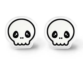 Skull Earrings - Kei, Pastel Goth, Everyday Earrings, Aesthetic, Soft Grunge, Gothic Lolita, Creepy Cute Jewelry