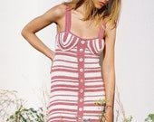 Crochet Striped Mini Dress ,Off Shoulder Dress, Summer Women Dress.