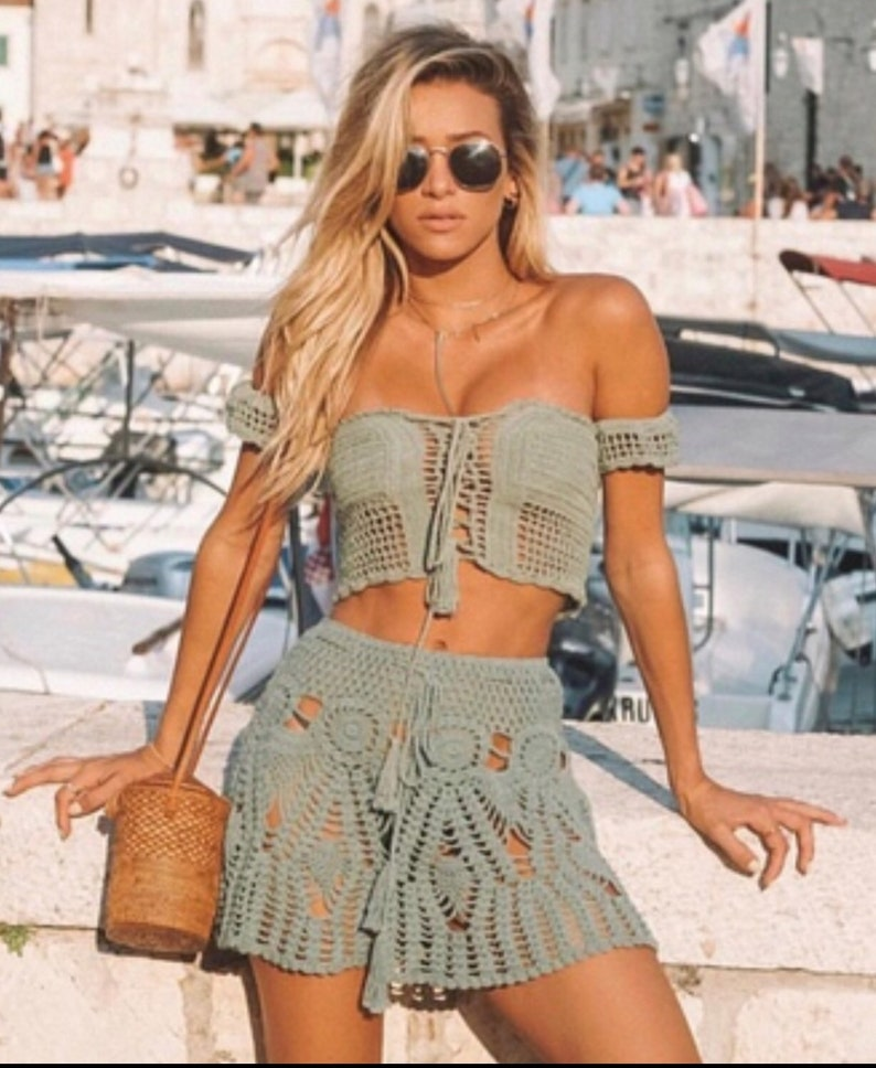 Crochet Top and Mini Skirt , Beachwear, Boho Hippie , Festival Clothing .