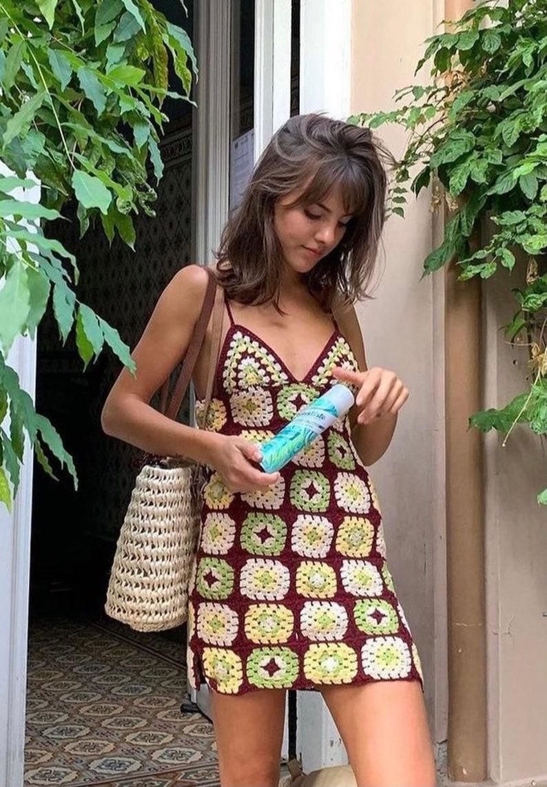 Crochet Grandy Motif Mini Dress, Spagetti Dress.