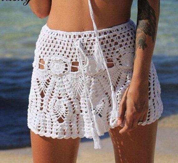 Festival Clothing. Beach Skirt Crochet Flower Mini Skirt