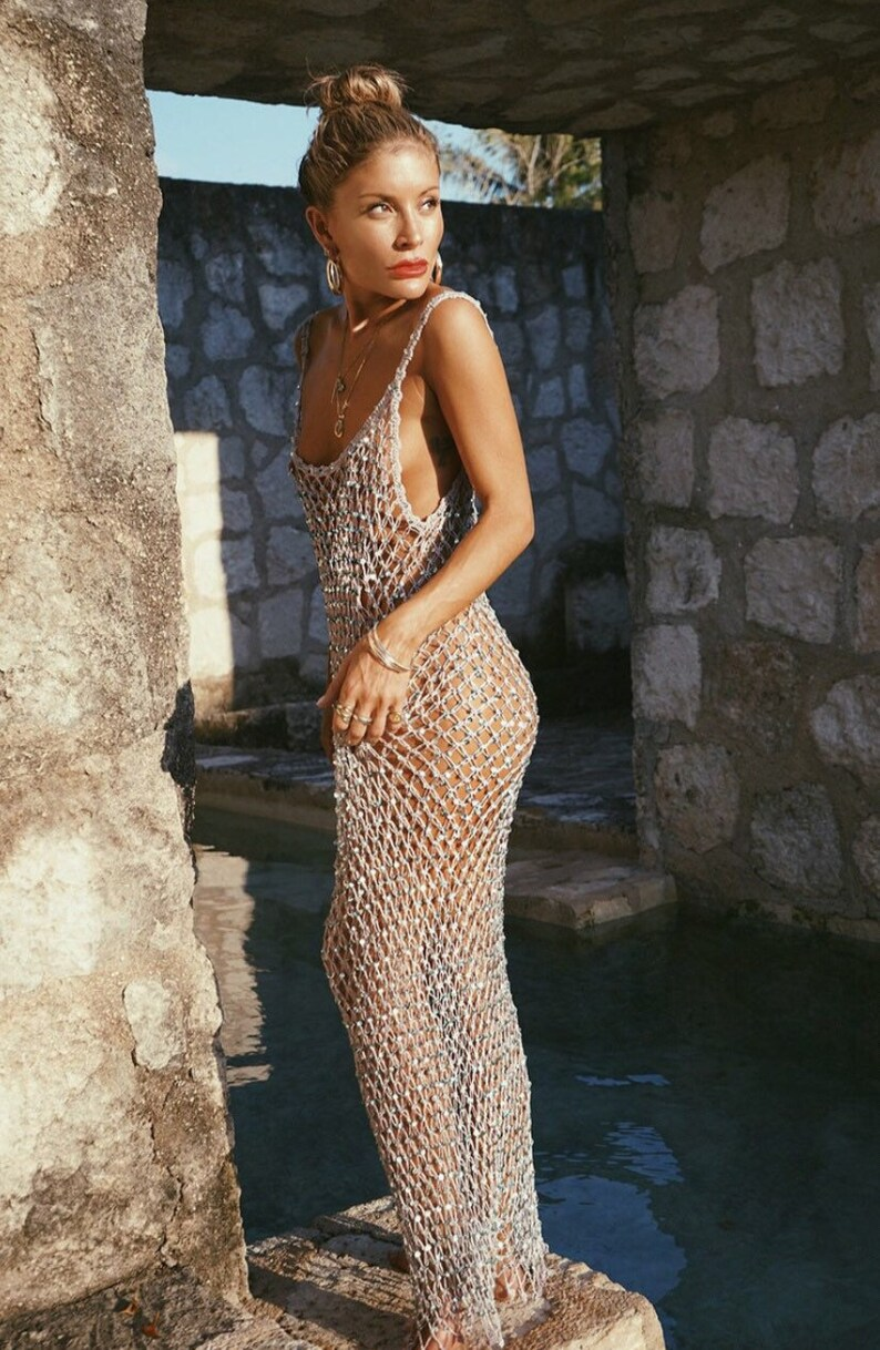Evening Dress. Crochet Fishnet Off Shoulder Maxi Dress