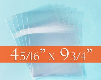 """48 pc plain cello clear goody treat loot bags 4/"""" x 9/""""  with ties"""