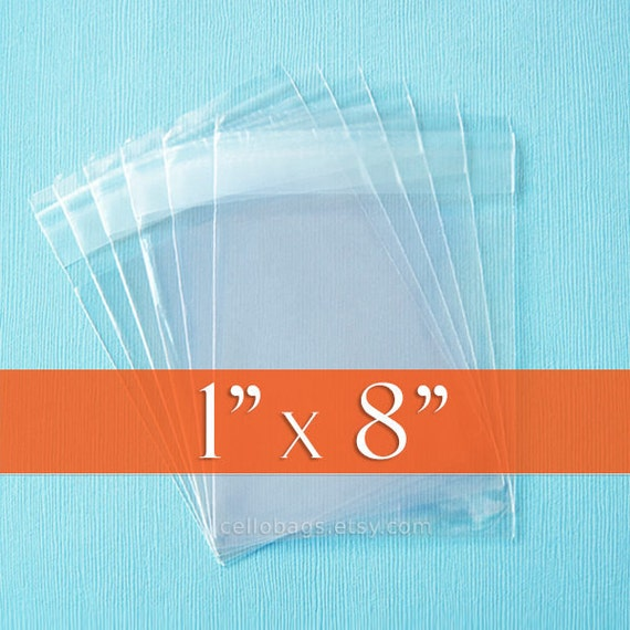 """Set of 200, 1 x 8"""" Inch Resealable Clear Cello Bags, 1.6 mil"""
