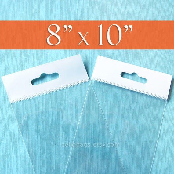 300 8 x 10  Inch HANG TOP Clear Resealable Cello Bags Packaging for Hanging Photo Display