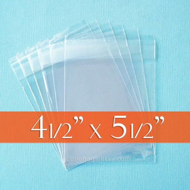 """500  4.5 x 5.5 Inch Resealable Cello Bags, Clear Cellophane Plastic Packaging, Acid Free (4 1/2""""  x 5 1/2"""")"""