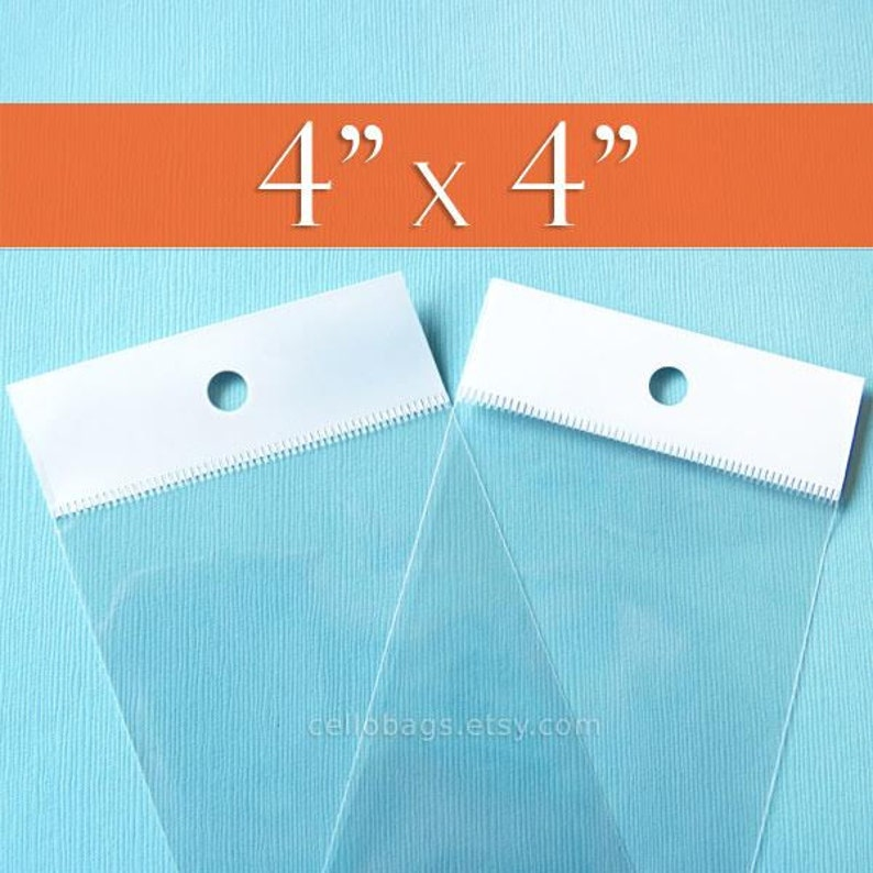 100 4 x 4 Inch HANG TOP Clear Resealable Cello Bags Packaging for Hanging on Display or Peg