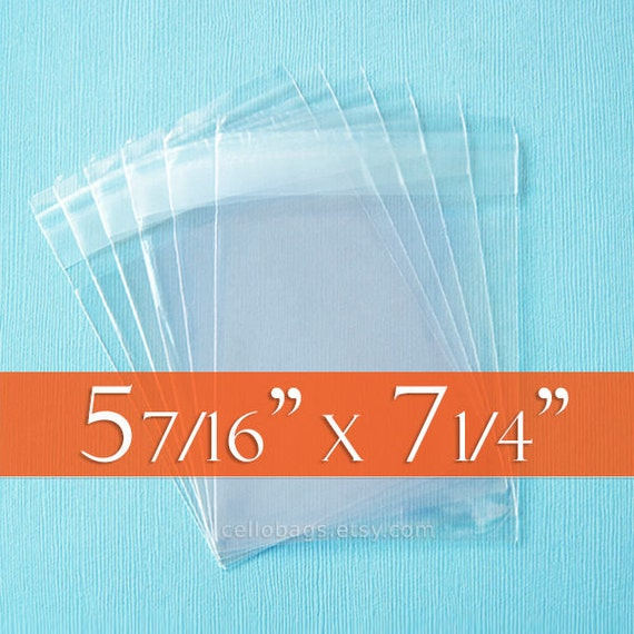 100 5 7/16 x 7 1/4 Inch Clear Resealable Cello Bags, A7 Card w/Envelope, Choose Tape on Flap or Tape on Body, Acid Free