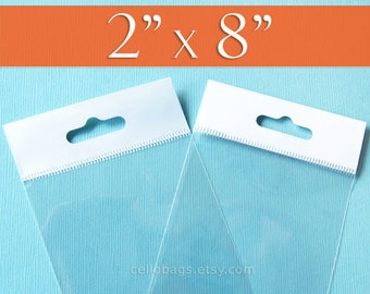 """100 2 x 8"""" Inch HANG TOP Clear Resealable Cello Bags Packaging for Hanging on Display or Peg"""