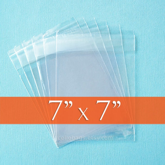 200 7 x 7 Inch Square Clear Resealable Cello Bags, Plastic Packaging, Acid Free
