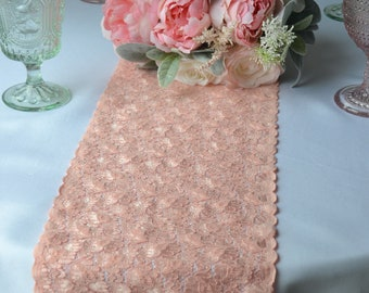 "Peach Lace 8"" wide Choose 3 FT -16FT Sizes Cut Lace/not hemmed/ Perfect Table Runner Lace/  Free Samples available"