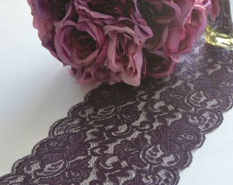 """Plum Lace table runner 8"""" wide choose your length 3FT -16 FT /Cut lace not hemmed/Free sample swatch/ Wedding reception/ bridal shower"""