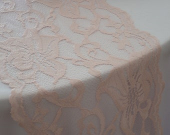 "Blush Lace Table Runner 10.5"" Wide Sizes 3-30FT/Custom Cut lace not hemmed/Blush Wedding / Free samples available/ Wedding reception"