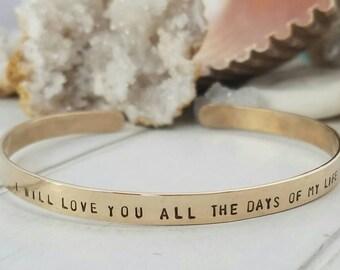 Gold Cuff Bracelet, Custom Gold Bracelet, Personalized Gold Cuff, 14kt Gold Fill, Gold Bracelet, Cuff bracelet, Secret Message Cuff Bracelet