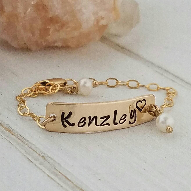 Gold Baby Bracelet Baby Name Bracelet 14kt Gold Filled Baby Etsy
