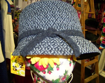 Vintage Black & Gray Herringbone Cloche OSFM