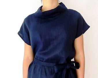 Linen Cowl Neck Top with Tie - Navy - S,M