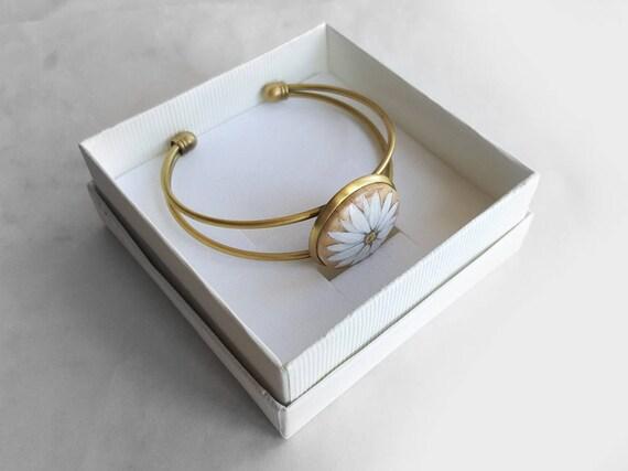 Adjustable Silver Bracelets Dome Poppies FlowerHand Chain Link Bracelet Clear Bangle Custom Glass Cabochon Charm