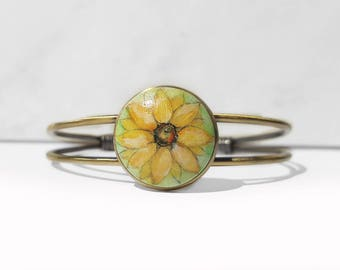Yellow Sunflower Cuff Bracelet, Hand Painted Bracelet, Original Small Acrylic Painting Jewelry, Handcrafted Metal Bracelet