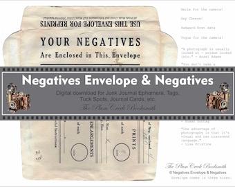 Negatives Envelope & Negatives - Digital download - junk journal ephemera
