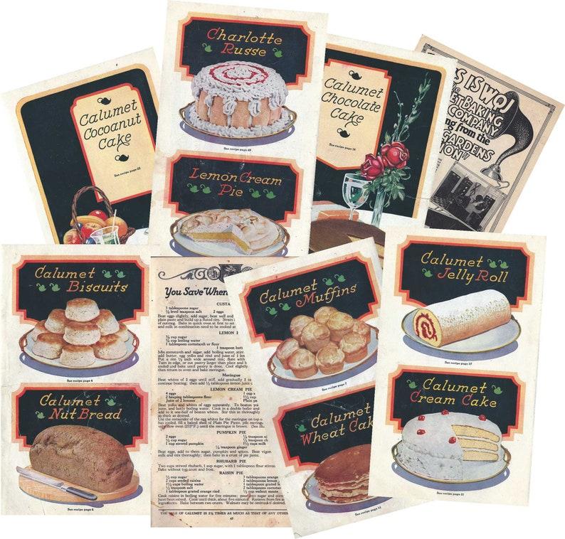 scrapbooking Vintage Calumet Cookbook Images instant digital download 16 unique journal cards for junk journal pages ephemera