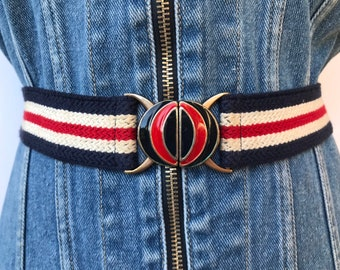 1e43473ab 80s Patriotic Decorative Cotton Canvas Boys Belt, Red Blue Shiny Enamel Clasp  Buckle, Small Womens Size, Mod Jeans Waist Belt July 4th