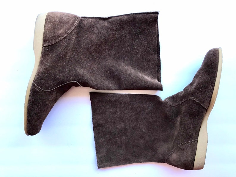 21c7131ec2439 80s Brown Suede Boho Flat Boots, Tall Ankle Leather Booties, Punk New Wave  Vintage Union Made Cut Off Boots