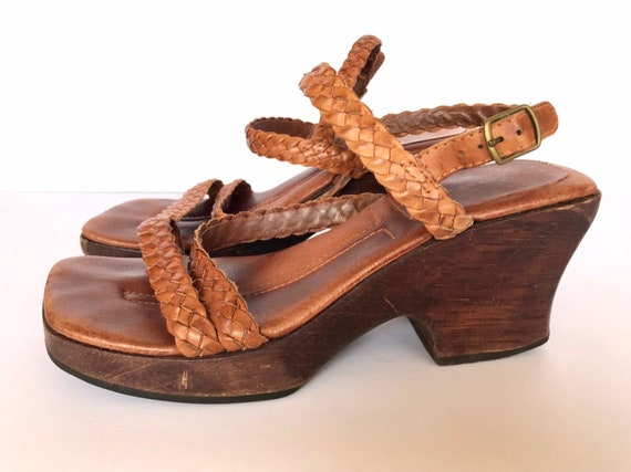 67e347e0abcad 90s Wood Platform Woven Leather Slingback Sandals, Hippie Boho Strappy  Brown, Braided Leather Straps, Large Diagonal Toe, Sexy Momma Size 8