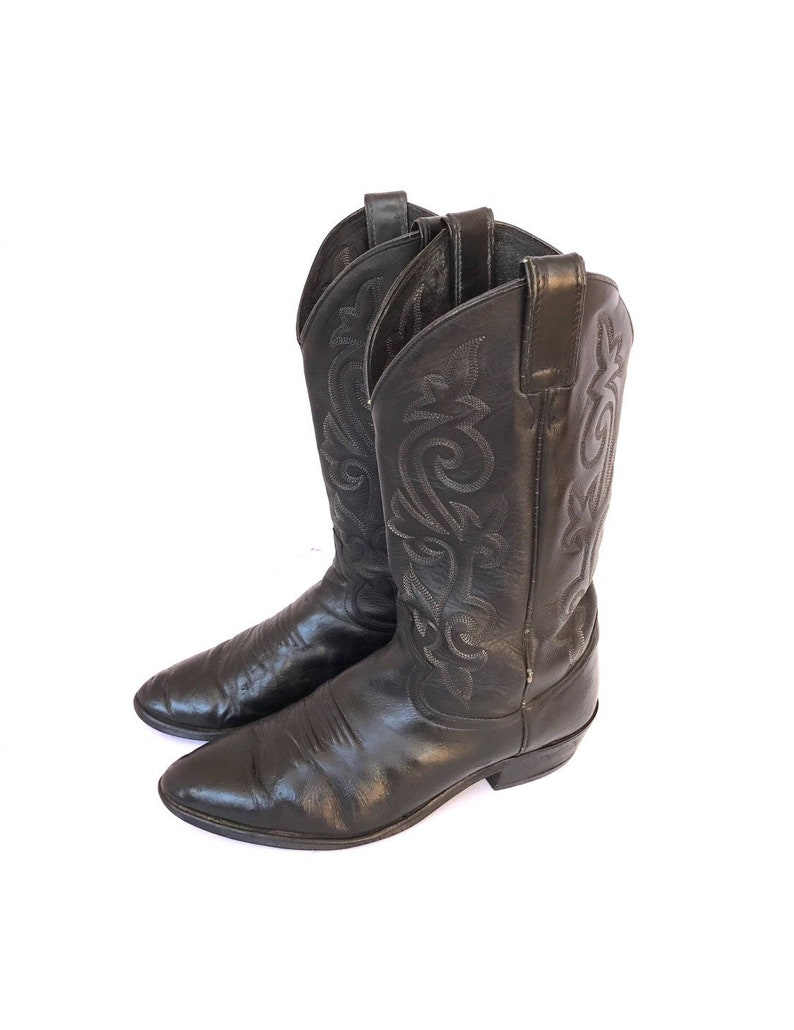 b7d2c4dfe31f7 Vintage Justin Black Leather Cowboy Riding Boots, Men's Country Western  Boots, Motorcycle Biker Horseback Riding Farm Ranch Size 9.5