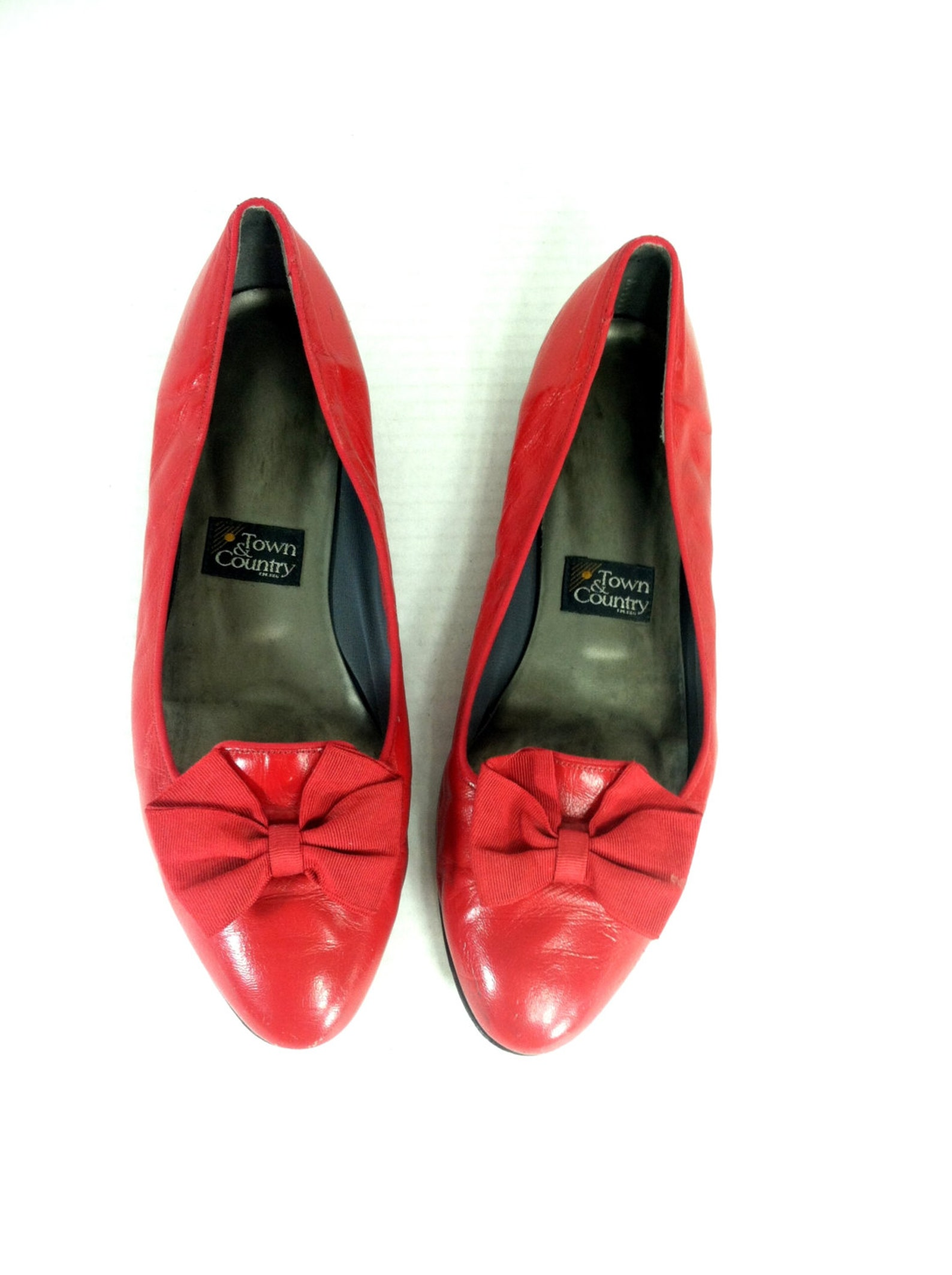 90's red leather vintage ballet flats with bow
