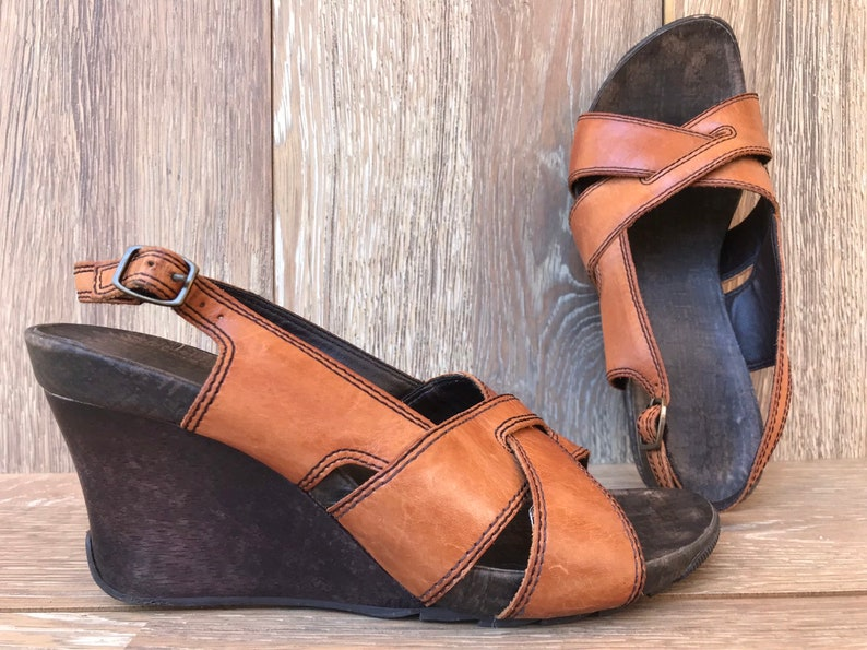 dd6aabe5a4523 90s Cognac Leather Wood Wedge Sandals, Rustic Slingback Cris Cross Shoes,  Strappy Boho Hippie Open Toe 90s does 70s Women's Size 6