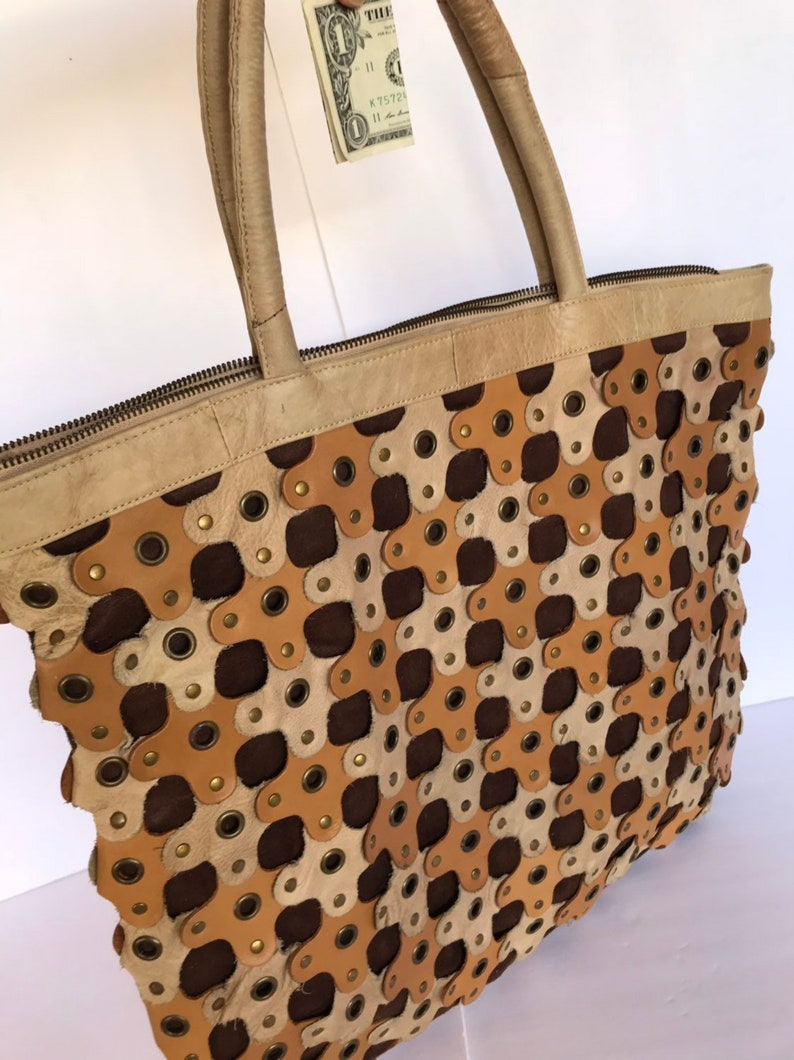 Fun Huge Bohemian Bag Reduced Price Grated Blonde Cognac Leather Pieces Shoulder Bag 90s Large Leather Patchwork Boho Hippie Tote