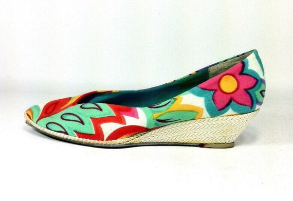 8fdf716b179d Tropical Floral Espadrilles Slip On Wedgies