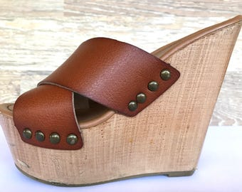 80's wood platform leather mules 6.5, Mossimo brown leather studded sandal slides 6.5, boho hippie double strapped platform mules 6.5