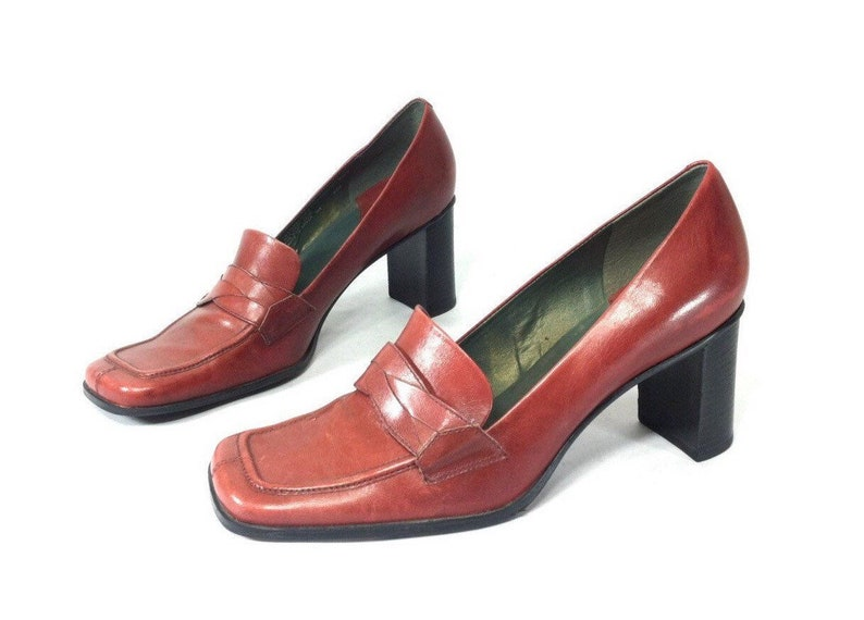 aea0f44bcd5 90s Brick Red Leather High Heel Loafers Fancy Dressy
