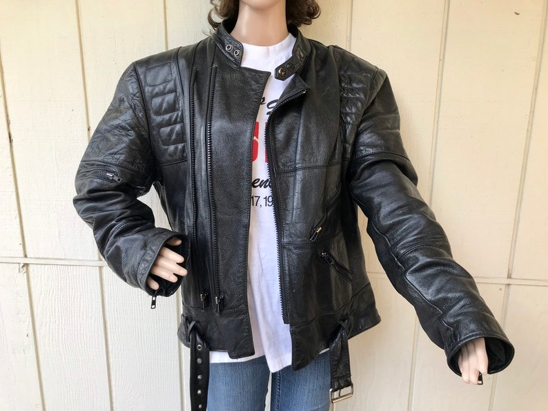 Rugged Thick Chunky Moto Riding Coat with Bel Mens Size Medium 80s Black Distressed Padded Leather Biker Jacket