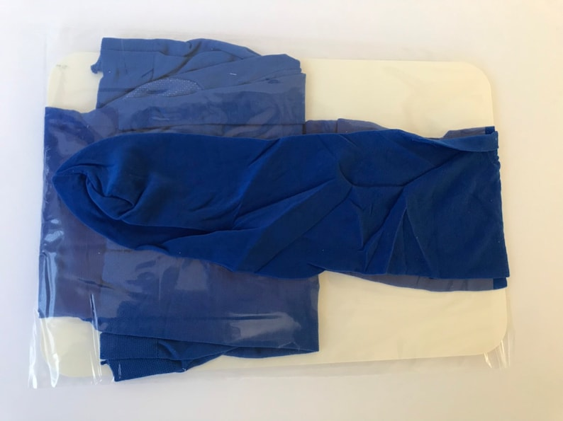 NOS Dead Stock Round the Clock Silky Lycra Size B 90s Olympic Blue control top pantyhose silky Lycra Round the Clock size B Sandaltoe