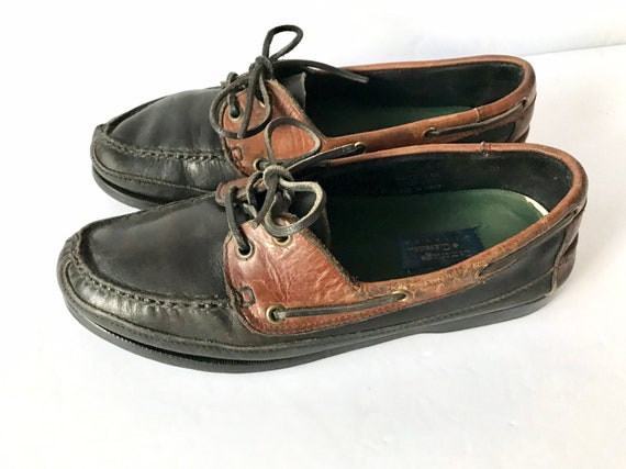 80s Chunky Leather Deck Shoes 2-Tone Men/'s Leather Lace Ups by Cambridge Classics Size 10.5 Black Brown Distressed Boat Loafers
