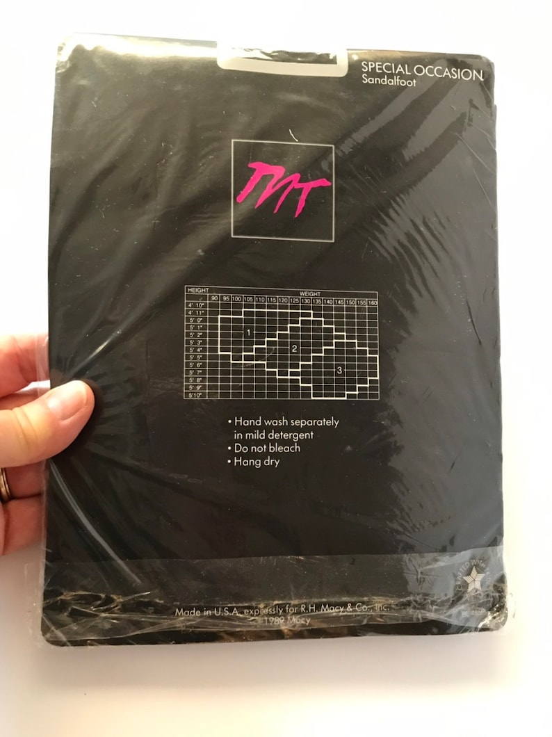 Silver Swirly Stud Design on Calf Dead Stock NOS Party Nylons Sandalfoot Size Queen Large 80s Morgan Taylor Black Pantyhose