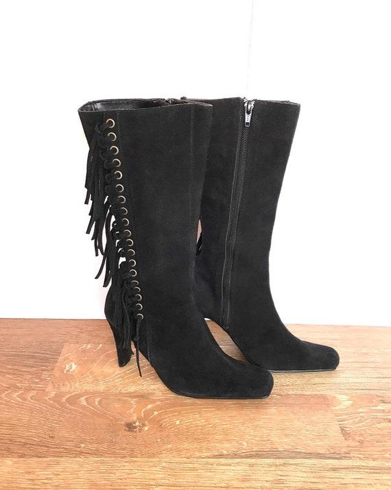 Vintage Suede High Heel Boots Fringe On Sides Etsy