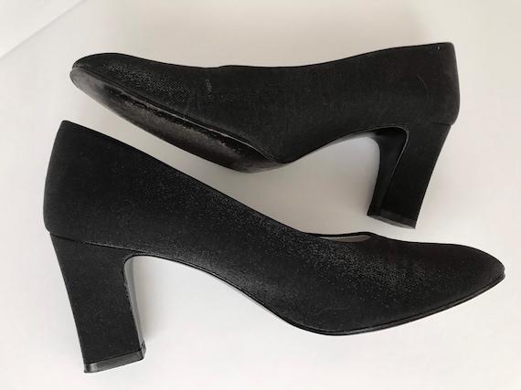 Black Satiny Chunky Heel Spectators, Vintage Nina Glam Scoop Block Heels Women's Size 7.5
