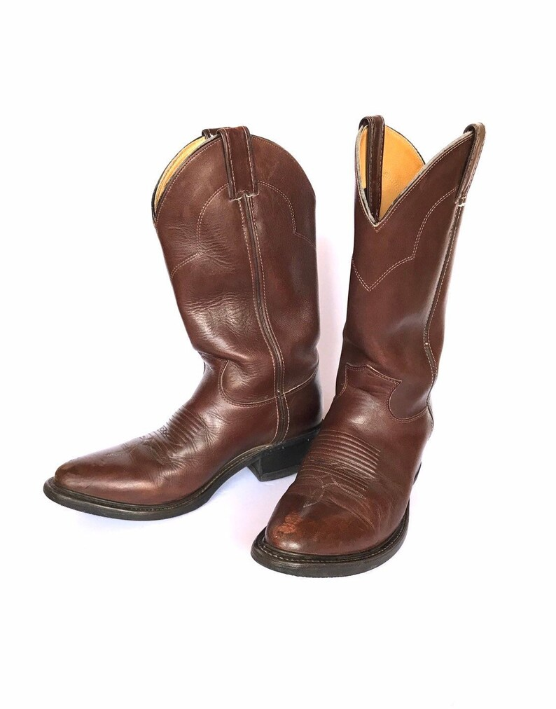 f1ca3111f73f9 Vintage Justin Distressed Leather Cowboy Ropers, Unisex Designer Brown  Country Western Boots, Chunky Motorcycle Biker Men's 8.5 Women's 10