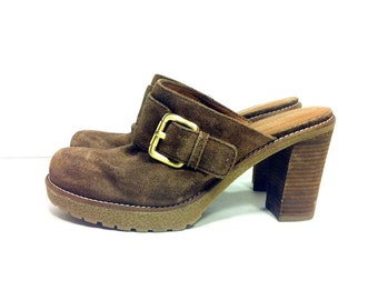 Platform Leather Clogs 6.5 - Slip On Chunk Heel Hippie Clogs 6.5