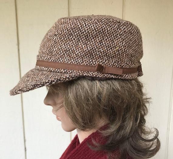 90s Brown Tweed Newsboy Cap, Cadet Hat, Vintage Ba